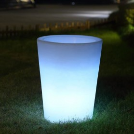 Location pot rond à led sur batterie ht 50 cm diam 40cm